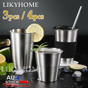 Stainless Steel Cup 350/600ml Coffee Beer Drinking Mug Camping Party Tumbler 4X