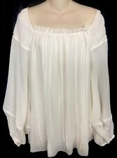 7e6de350f37ec6 Zac Posen Top Milk White Silk Blouson Full Sleeve Square Neck Size 10
