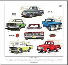 FORD F-SERIES PICKUPS - Fine Art Print - The first six generations illustrated