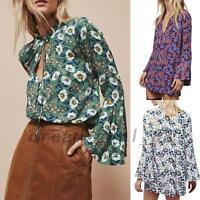 Vibrant Flower Flared Sleeve Frilled Button Down Shirt Blouse Tunics Mini Dress