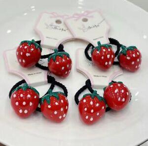 Strawberry Cute Girl Hair Tie Strawberry Shape Elastic Hair Ties x 2 Hair Ties