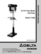 "Delta 17-965 16 1/2"" Floor Model Drill Press Instruction Manual"