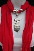 Women Fashion Soft Scarf Silver Metal Christmas Holidays Deer Pendant Red White