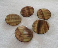 Vintage Lot 5 Irridescent MOP  Buttons Metal Shank Mother of Pearl