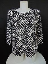 JM Collection Plus Size Printed Ruffled Sequined Top Black White 0X #527
