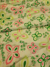 "Mimi Di N Vintage Silk Square 27"" Scarf green and pink butterfly. 1977"