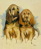 Original Oil painting - portrait of 2 bloodhound  dog / puppys by j payne