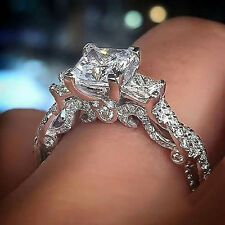 1.5ct Three-Stone Diamond Engagement Wedding Ring In 14K Real White Gold