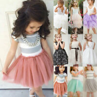 Baby Girls Princess Dress Toddler Kids Party Wedding Pageant Tulle Sun Dresses