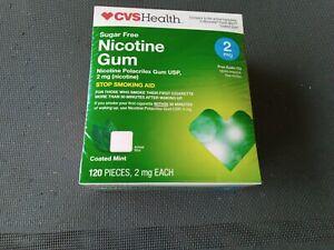 CVS Nicotine Gum 2mg 120 ct Compare Nicorette Read Exp 10/20 Sealed Mint Coated