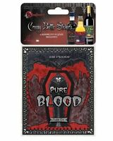 PKT OF 6 HALLOWEEN HORROR PARTY CREEPY WINE BOTTLE LABELS STICKERS VAMPIRE BLOOD