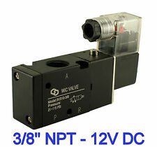 "Pneumatic 3 Way Electric Directional Control Air Solenoid Valve 12V DC 3/8"" Inch"