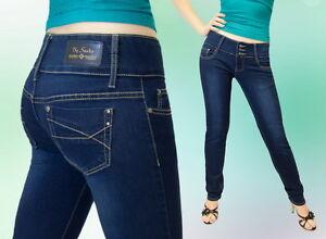 Damen Jeans Hose Jeanshose Gerades Bein Hüftig Blau - 34  -