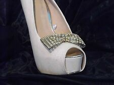 2 Gold Diamante Style Bow Clips for Shoes