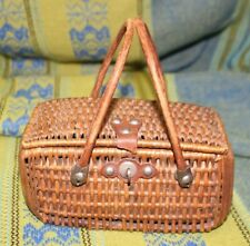 Antique 19th Century Miniature Child's Sewing Basket Purse As Found