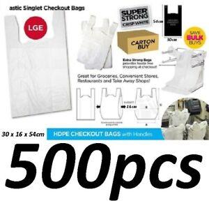 500pcs Plastic Singlet Shopping Carry Checkout Bag Large 30x16x54cm White NEW