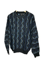 Protege Men's Size M Crew Neck Sweater Cosby Coogi Biggie Style Black Blue Knit