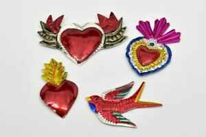 Assorted Milagros Charms - Tin Painted Sacred Heart Ornaments - Mexican Folk Art