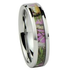 Women's Camo Hunting Camouflage Wedding Band Ring Pink/Rose/Green 6mm Tungsten C