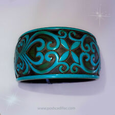 ☤ Vintage Bangle Black Cyan Black Bohemian Hippy Baroque Floral Damask Bracelet
