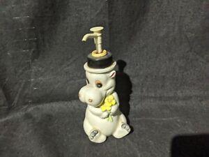 Andre Richard Hippo SOAP BOTTLE Made in Japan ~ Vintage Cute Animal Kids Flowers