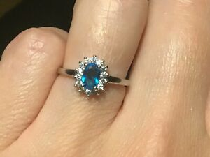 New Genuine 925 Sterling Silver Stunning Clear & Aqua Blue Ring Size L, Uk