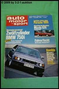 Ams Car Motor Sport 15/87 BMW 750i Mercedes 200 T Mazda 626 Volvo 740 Gl