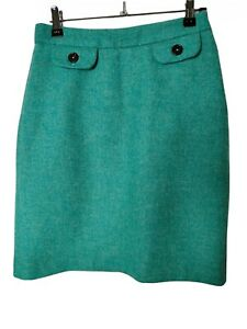 BODEN Wool Straight Skirt Size 8L Jade Green Lined
