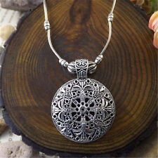 New Fashion Boho Vintage Tibetan Silver Hollow Round Pendant Necklace Jewelry