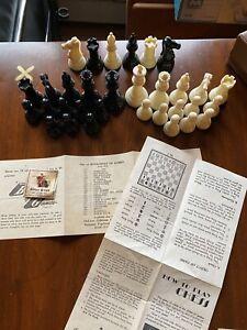 Vintage 50's Original Gallant Knight Chess Set 26 Pc +6 Instructions Box Heavy