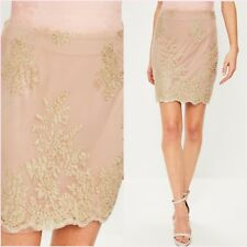 SALE Pink Nude Gold Trim Lace Mesh Embroidered Mini Skirt Size UK 6 US 2