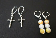 Earrings  Set Of 2 pairs  Leverback  Sterling Sliver  Cross and Moonstone D