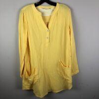 Soft Surroundings Womens Top Size Small Tunic Yellow 100% Cotton II