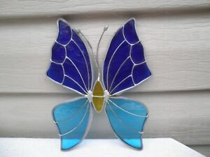 Vintage Stained Glass Butterfly Suncatcher-- Brilliant Blues !!