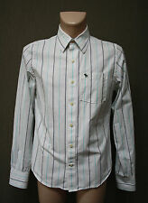 ABERCROMBIE & FITCH Herren Hemd M Muscle weiss Streifen Shirt !25