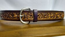 Vtg Western Equestrian Belt Tooled Leather Flower Vines Womens 38 40 42 Large XL