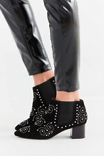 Jeffrey Campbell Mulvain  Chelsea bootie ankle boot black studded suede 10