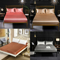 Satin Bed Fitted Sheets Comfort Bedding Cover Bedclothes Full King Queen Cotton
