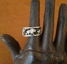 Vintage Sterling silver African animals Big 5 men's ring sz 10, lion rhino etc