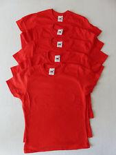 5er Pack Fruit of the Loom T-Shirt - Lady-Fit Damen - Größe XS - rot - NEU
