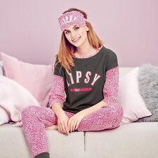AVON Lipsy Pink Leopard Print Pyjamas & eye mask size 18-20 New Ideal Gift (AB)