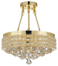 Semi-Flush Mount French Empire Crystal Chandelier, Gold