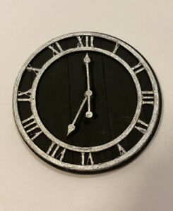 Dollhouse Miniature FARMHOUSE WALL CLOCK Wooden 1:12 Decor Roman Numerals