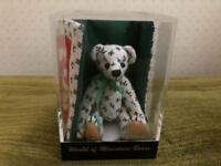 World of Miniature Bears # 485 CHERRY Bear w Quilt in Cube w COA