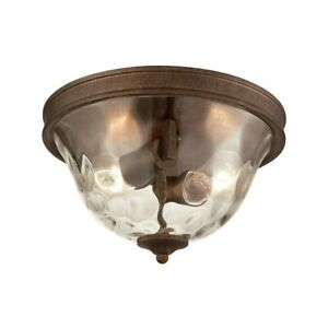 ELK Lighting Cheltham 2-Light Flush Mount, Mocha/Clear Water Glass - 46028-2