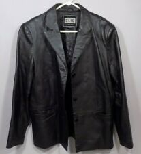 Clio Leather Coat Womens Jacket 3 Button Up Black Lined Pockets Structured M