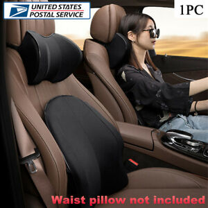 Black Car Headrest Neck Pillows Travel Cushion PU Leather & Memory Foam