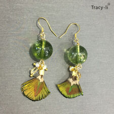 14k gold plated Crystal stone with natural pearl and feather earrings