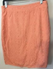 Joie Womens Size Small Pencil Skirt Orange Eyelet Lined