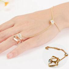 Punk Jewelry Lady Women's Rhinestone Crystal Gold Plated Ring Bracelet Gift